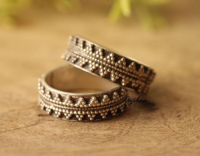 Ethnic Sterling Silver Artisan Handmade Band Ring Rings