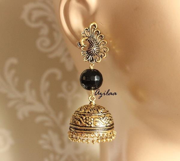 Peacock black antique gold tone jhumka earrings online in India