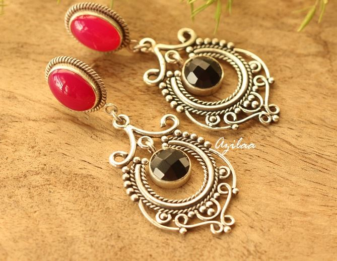 Pink black gemstone sterling silver chandelier earrings azilaa aloadofball Gallery