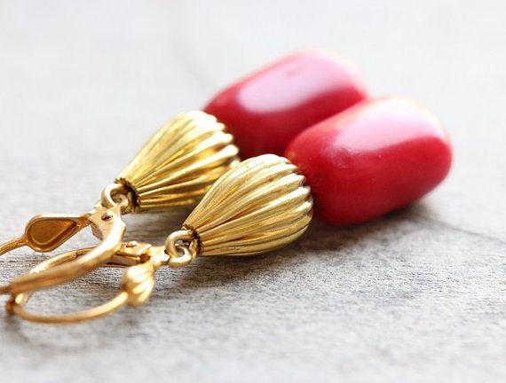 Red coral gemstone earrings 40112 2 full