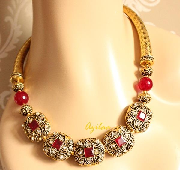 Designer maroon necklace earrings Antique gold necklace online in
