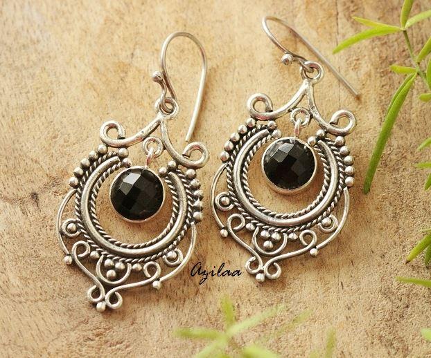 Sterling silver black onyx gemstone Chandelier Earrings – Azilaa.com