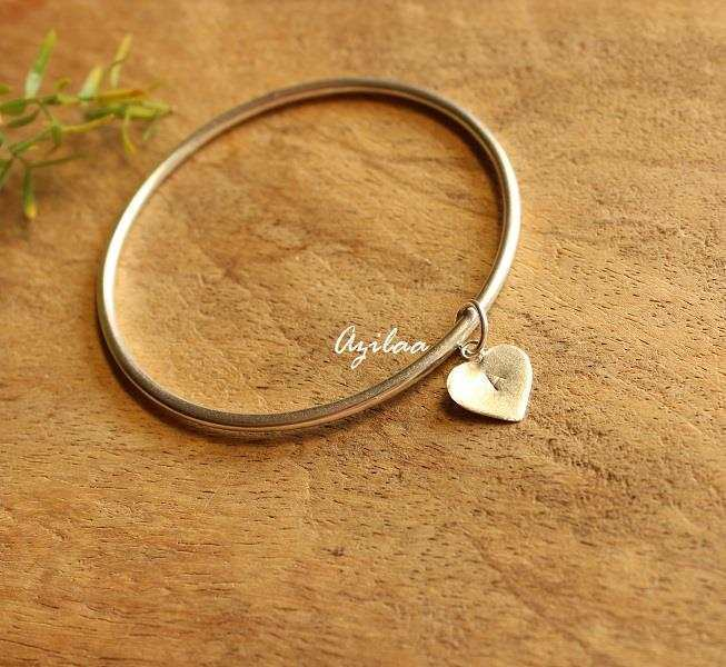 Handmade Heart Charm Bangle Bracelet