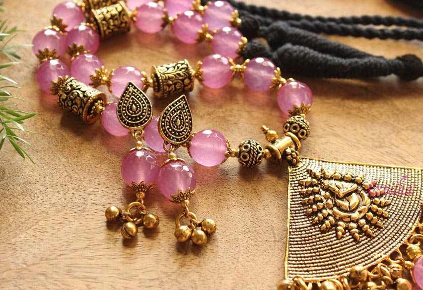 Antique Gold Lavender Bead Pendant