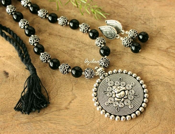 5635b4585 Black Onyx gemstone Ganesha handmade jewellery set at ₹1950 | Azilaa