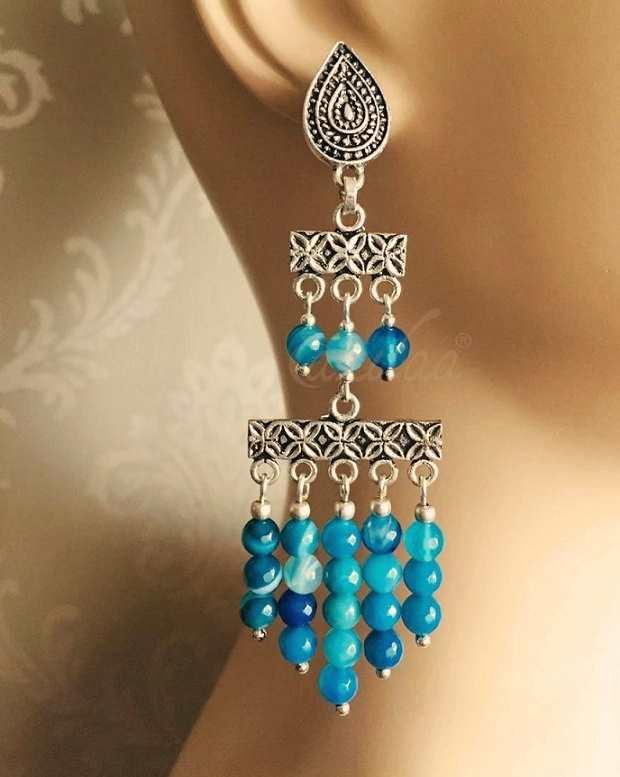 6499d5a01 Blue Boho Antique silver gemstone handmade earrings at ₹1850   Azilaa