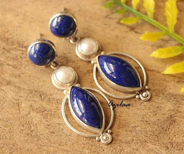 07e283dd6 Blue Lapis Lazuli Pearl gemstone sterling silver earrings at ?5950 ...