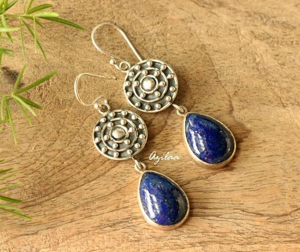 3692be370 Blue Lapis Lazuli gemstone sterling silver earrings at ₹3550 | Azilaa