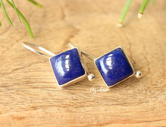 3f3d1bd36 Blue Lapis Lazuli gemstone sterling silver earrings at ?2550 | Azilaa