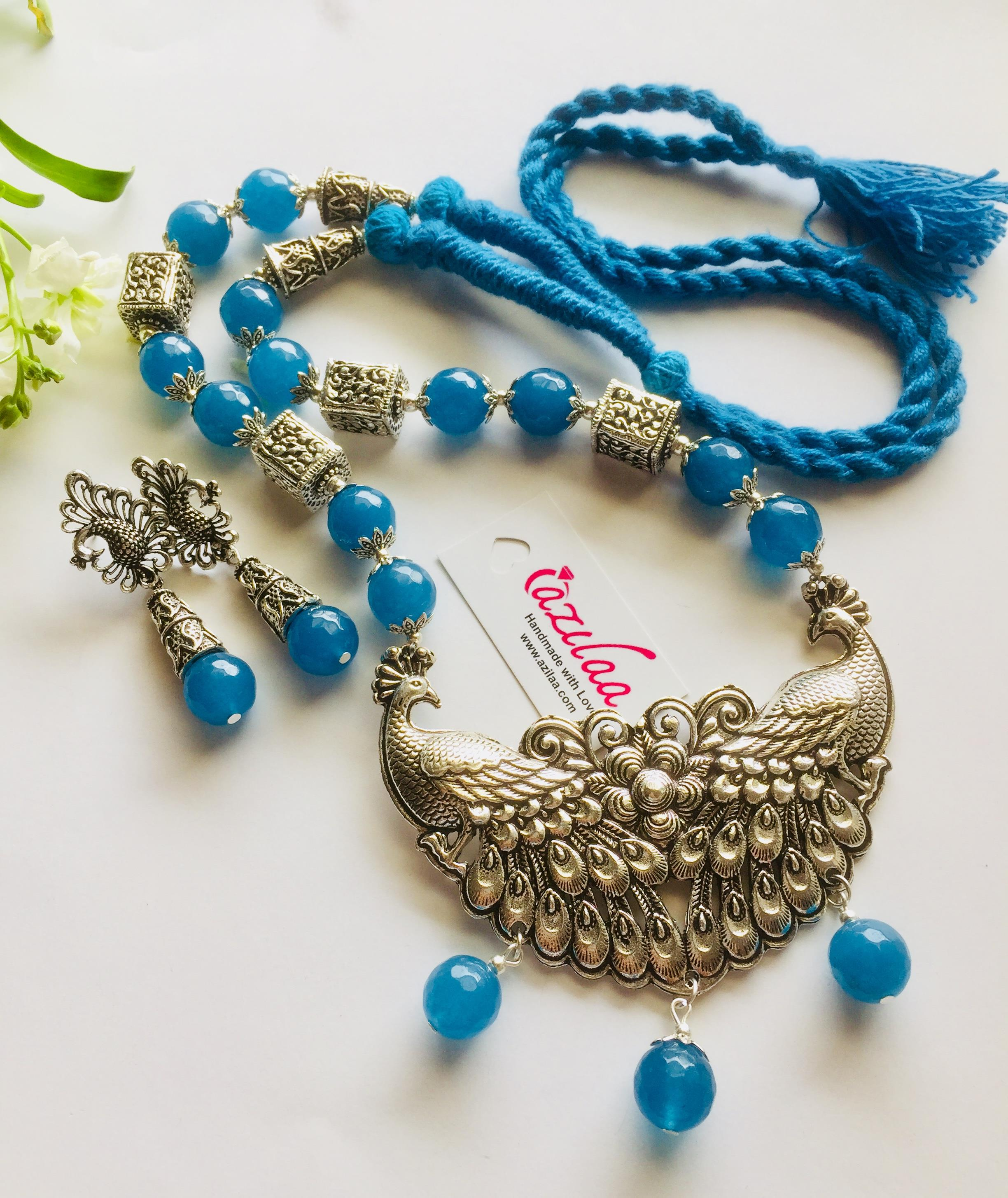 45307a8361dcb Blue Peacock Statement handmade necklace set
