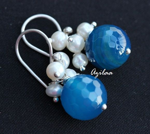 25c5f6711542d Blue agate gemstone pearl sterling silver handmade earrings