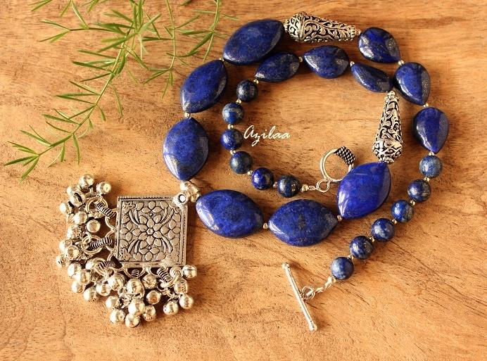 05b37d5bcdb Blue lapis gemstone handmade silver necklace earring at ₹3450 | Azilaa