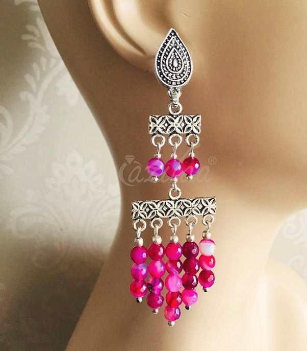 9598f6a2c Boho Antique silver pink gemstone handmade earrings at ₹1850 | Azilaa
