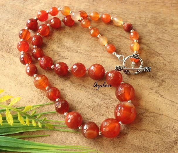 Burnt Orange Pendant Necklace