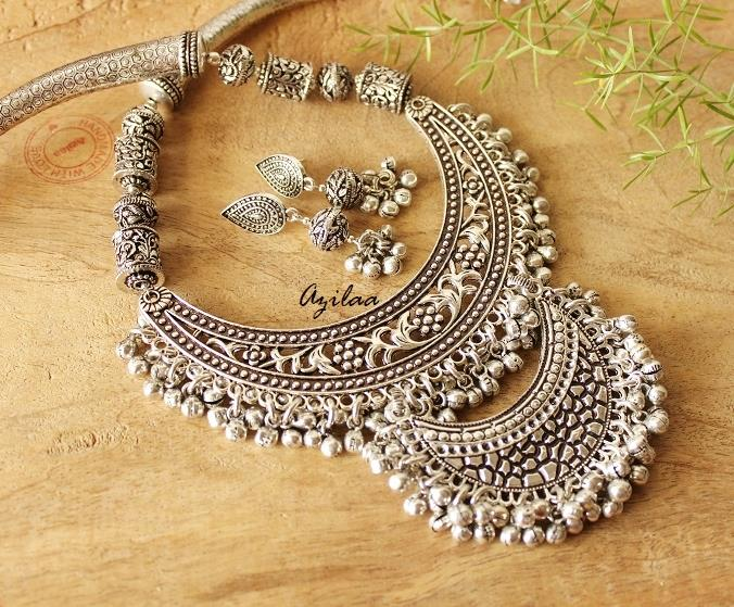 956a4af5028 Designer statement jewellery set, Ethnic necklace and earrings at ...