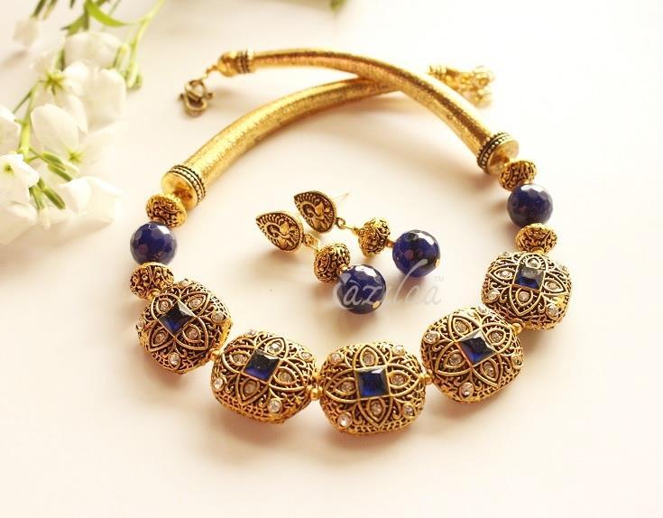 Designer Dark Blue Necklace Earrings Antique Gold