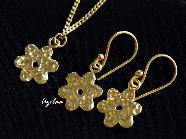e64265e03a1 Designer sterling silver Gold plated flower pendant earrings set at ...