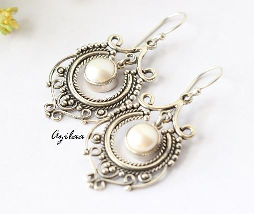 Designer Sterling Silver Pearl Gemstone Handmade Earrings