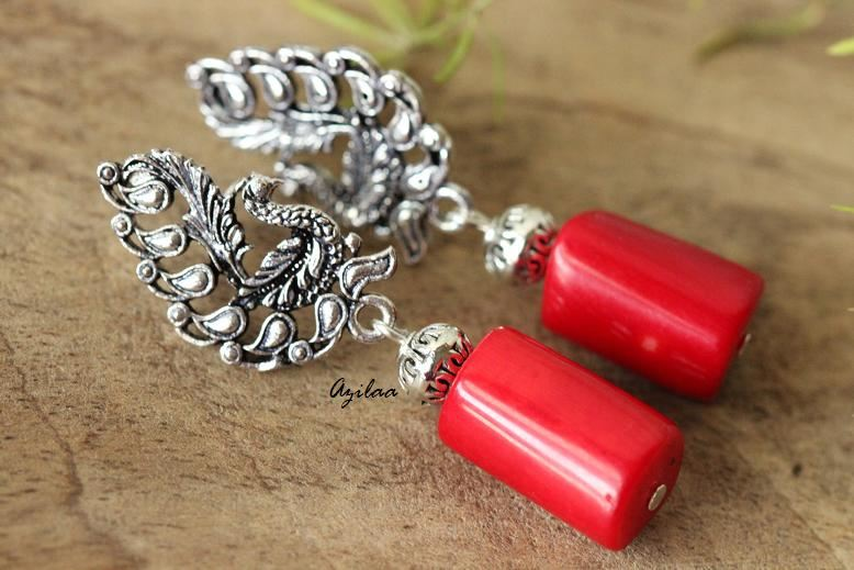 b3df9cf01 Diva peacock Red coral silver post earrings at ?1750 | Azilaa
