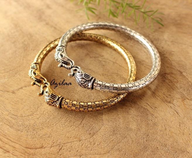 2 Elephant Antique Silver And Gold Bangle Bracelets