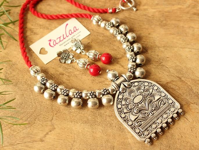 Ethnic Flower Pendant Red Coral Necklace Earrings Set At 2450