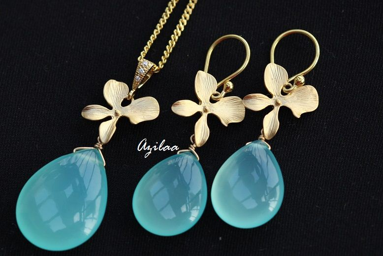 50def26a3d Golden Orchid Flower Pendant gemstone Necklace SET at ?3550 | Azilaa