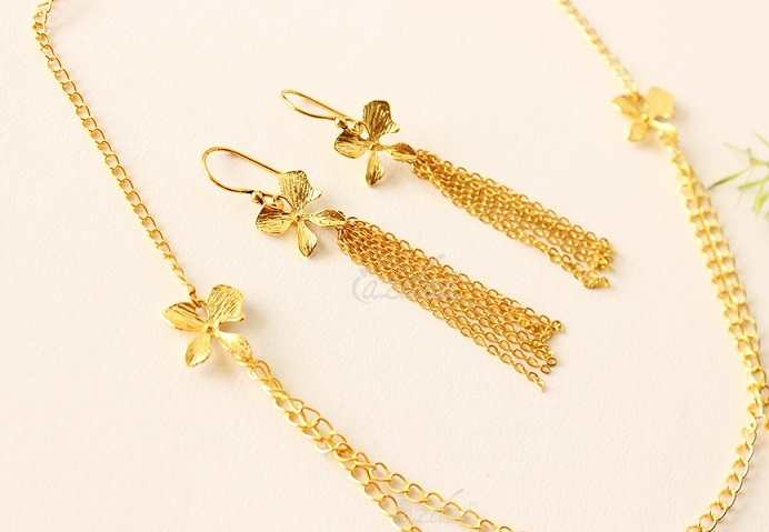 90c02c036ba Golden Orchid Flower Pendant gold plated Necklace SET at ₹1550