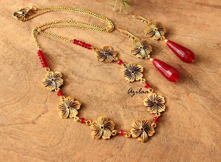 Golden Flower Necklace And Earrings Set At 2150 Azilaa