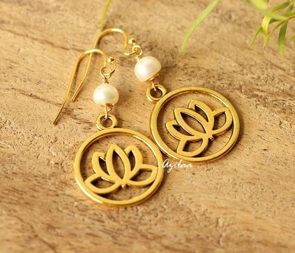 Golden Lotus Flower Charm Pearl Earrings At 1250 Azilaa