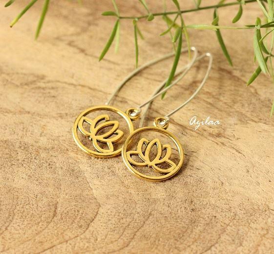 Golden Lotus Flower Charm Silver Earrings At 1250 Azilaa