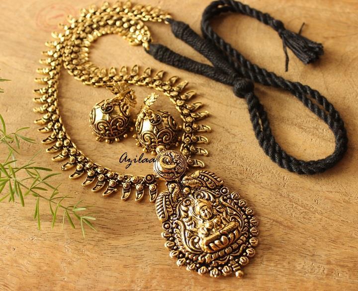 Indu Dess Antique Gold Necklace Set