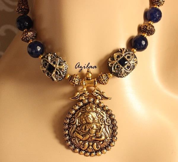 dcf009830 Navy blue necklace and earring set, Exclusive jewellery set at ...