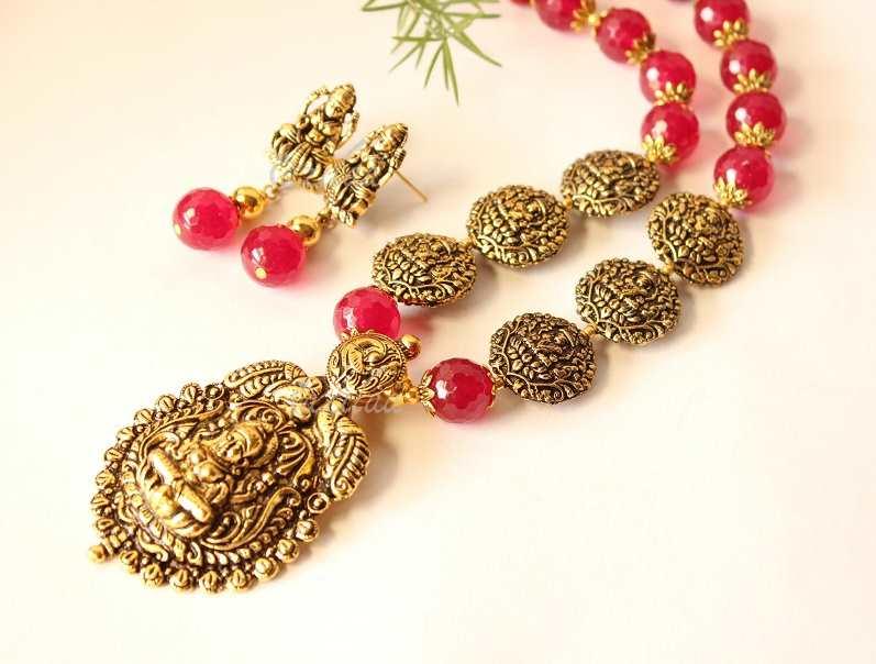 Laxmi Goddess Maroon Gemstone Antique Gold Tone Necklace