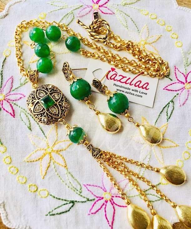17368e52fb Lariat green designer handmade gold plated chain tassel necklace at ...