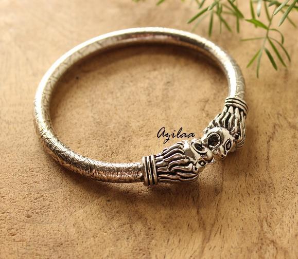 d0435dde42c5 Lion head silver plated bangle bracelet at  950