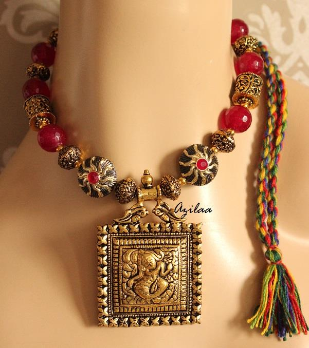 fa826563c Royal Maroon antique Gold Statement handmade necklace set at  2950 ...