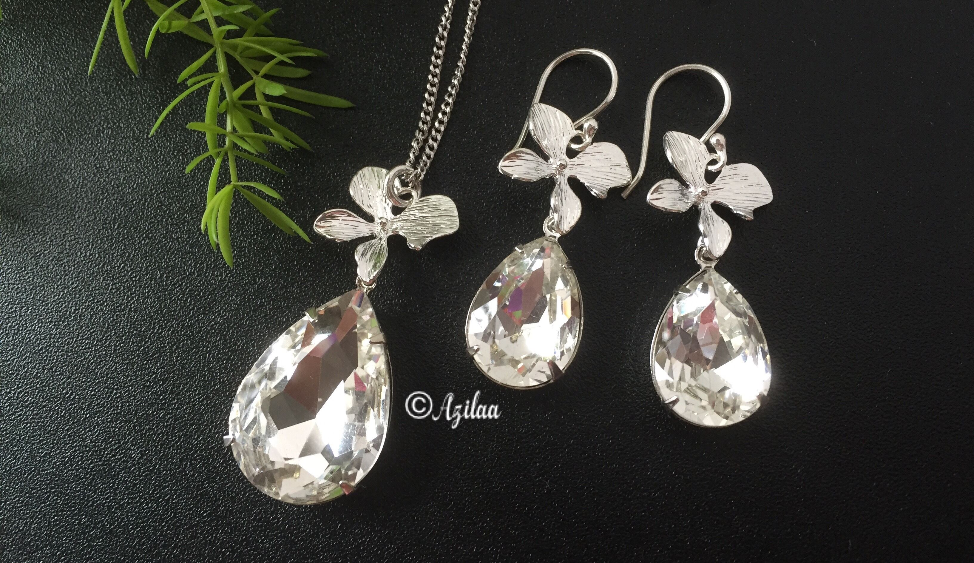 Orchid Flower Designer Crystal Pendant Necklace Set At 2950 Azilaa