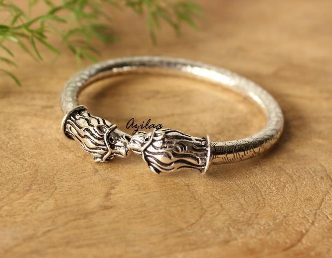 b725e9056669 Lion head antique silver plated bangle bracelet at  950