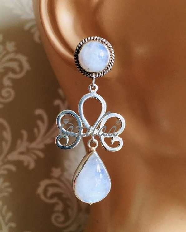 be1cd6a02ca3f Rainbow moonstone gemstone sterling silver handmade earrings