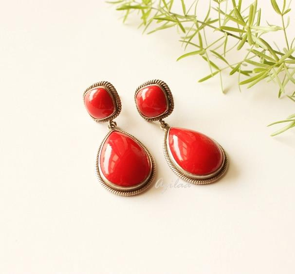895d5b57c Red coral earrings, Designer sterling silver earrings at ₹9550 | Azilaa