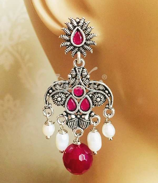 Silver Oxidized Red Gem Stone Vintage Pendant Earring Chain Necklace Set Jewelry Jewelry & Watches