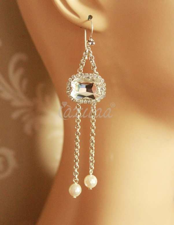 bc27d68ab Shinny crystal designer antique silver plated long pearl earrings at ...