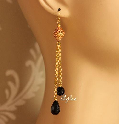 1e54b9d29eb Tassel gold plated black crystal earrings at ₹1200