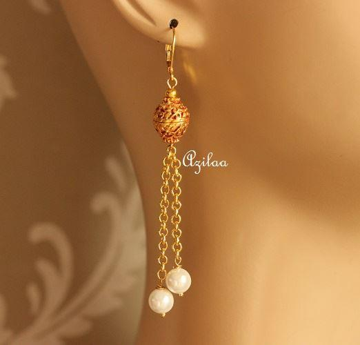 Tassel Gold Plated Pearl Earrings At 1200 Azilaa