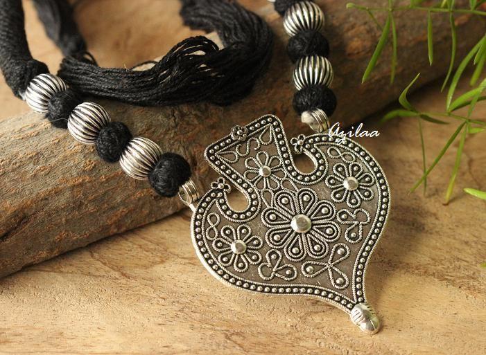 8041dcedf2 Tribal BlackEthnic oxidized silver plated thread handmade necklace set ...