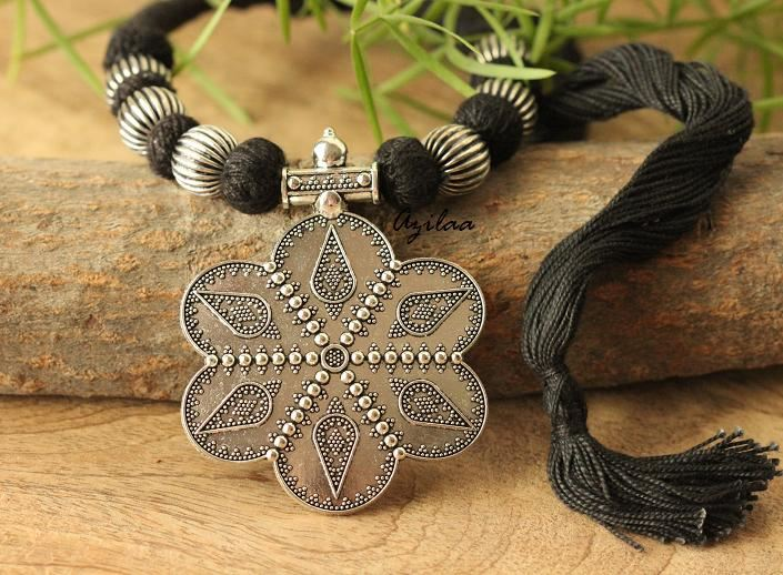 Handmade in GHANA Black and Brown Ethnic Bracelet with Crucifix Charm