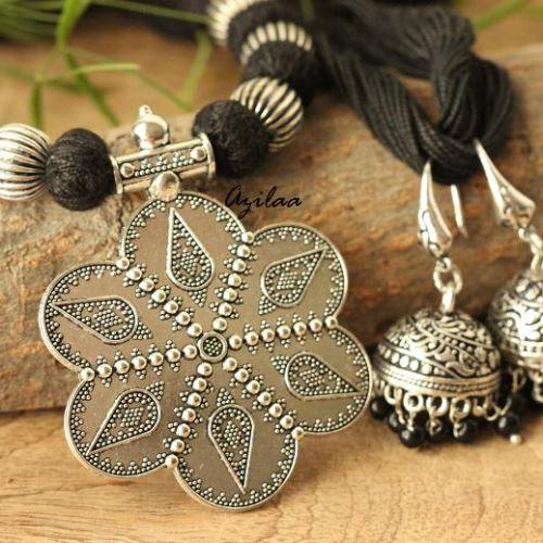 7df30e95e3 Tribal BlackEthnic oxidized silver plated thread handmade necklace set at  ?1450   Azilaa