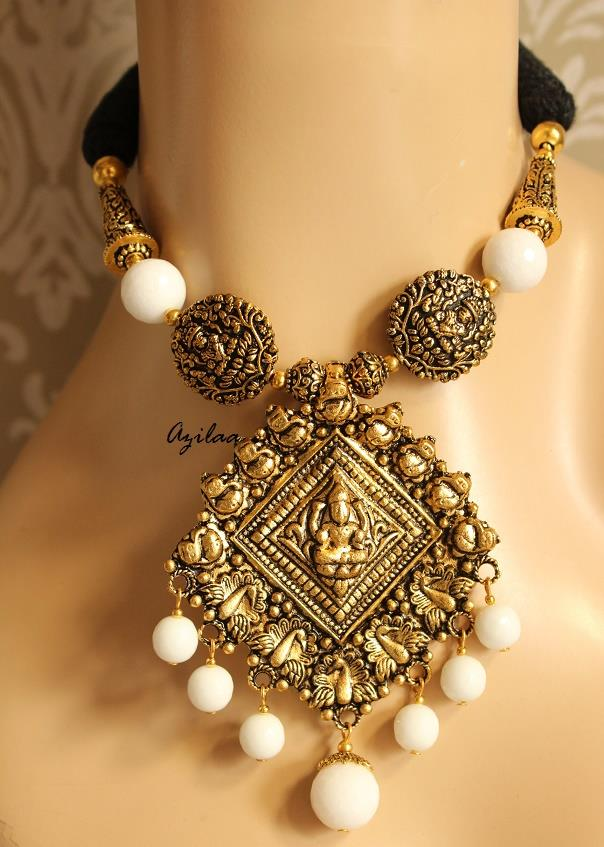 fe7546e0a Antique Gold Plated Pendant Necklace Set Laxmi At